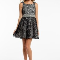 Two Tone Lace Dress with Bow Shoulders