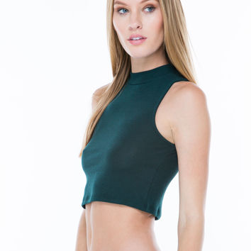 Not So Basic Mockneck Cropped Tank