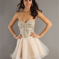 A-line Sweetheart Beaded Bodice Tulle Knee Length Prom Dress PD1907