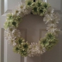 SALE Summer Floral Green & White Wreath