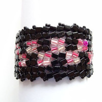 Black and Pink Handwoven Bracelet