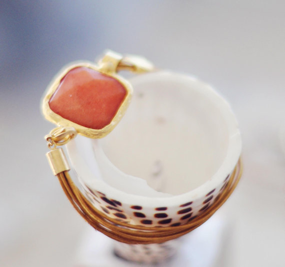 summer hot  fashion peach orange jade  large stone in gold frame gemstone handmade  bracelet gold leather cord israel jewelry