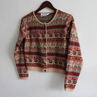 70s Boho Ethinc Print Wool Sweater Small P