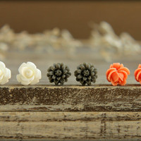 Flower Earring Studs Trio: White Rose, Grey Daisy, Peach Rose Bud