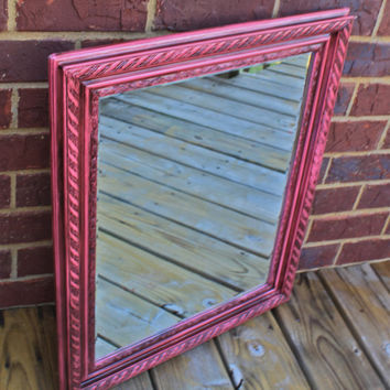 Pink Mirror /Dark Walnut Stain Accent / Distressed /Shabby Chic / Upcycled