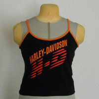 Harley Davidson Vintage 80s Neon Tank Top Shirt Hot Pink, Orange, and Black Size Small
