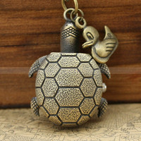 Necklace-Vintage pocket watch necklace with turtle design and duck charm