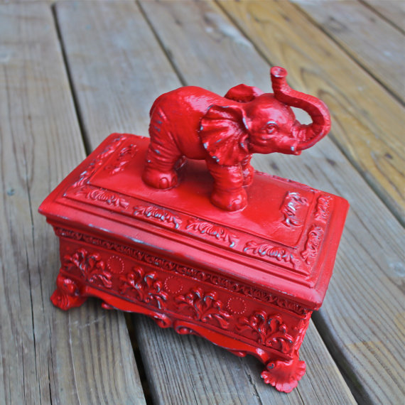 Elephant Treasure Box /Bright Red /Shabby Chic /Jewelry Box /Storage /Decor