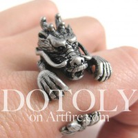 3D Dragon Animal Ring in Silver - Sizes 5 to 9 Available