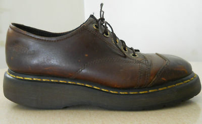 DR. DOC MARTENS Distressed 90s Throwback Grunge Brown Leather Oxfords Women Sz 8