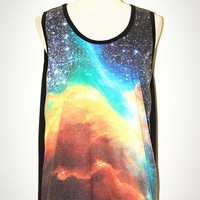 Star Cluster Galaxy Aura The Phoenix Universe Black Tank Top Singlet Sleeveless Photo Transfer Punk Rock T-Shirt Size L