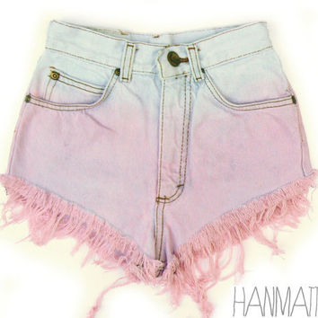 Hanmattan vintage high waisted studded denim cutoff shorts pink blue pastel ombre dip dye