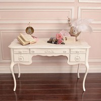 Stunning 5 Drawer Chic White Rose Desk