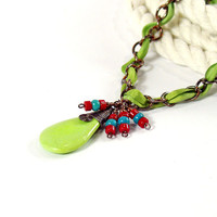 Green Ribbon Threaded Chain Necklace, Oxidized Copper, Turquoise and Coral