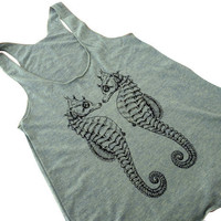 Seahorse Tank Top - Sea Horse American Apparel Tri-Blend Tank - Available in sizes S, M, L