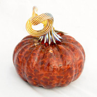 Blown Glass Pumpkin Autumn Colors - brown brick red gold table centerpiece harvest holiday luxury