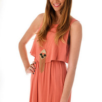 Coral Wrap-Back DressBrand: HIPSTER