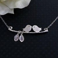Silver Lovebirds Custom 2 Initial Silver Leaves by MenuetDesigns