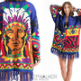 Vtg 70s Southwest INDIAN Chief Fringe Knit Ethnic Boho Hippie Cardigan SWEATER