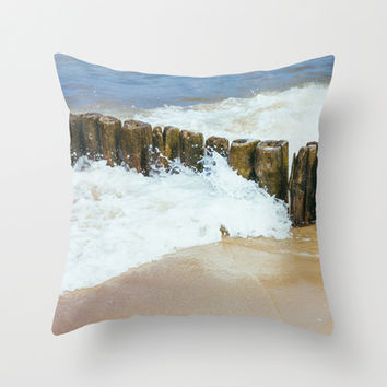 Wooden Breakwater Throw Pillow by Pati Designs | Society6