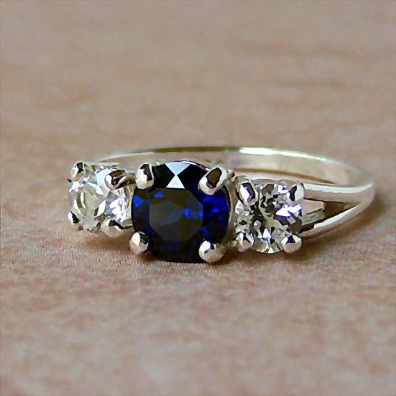 Lab Blue and White Sapphire 3 Stone Sterling Silver Ring, Cavalier Creations
