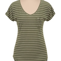 high-low striped tee with pocket