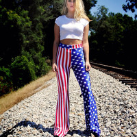 American Flag Velvet High Waisted Bell Bottoms