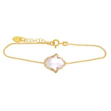 Gold Hamsa Mother of Pearl CZ Bracelet