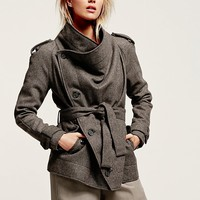 Free People Herringbone Drapey Coat