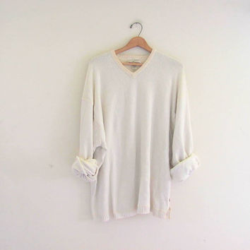 20% OFF SALE. vintage slouchy sweater. off white sweatshirt. pullover shirt. size XXL