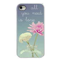 Floral Iphone case - Iphone 4 and 4s cover - pink flower - girly Iphone case - quote Iphone case - all you need is love - dreamy - floral