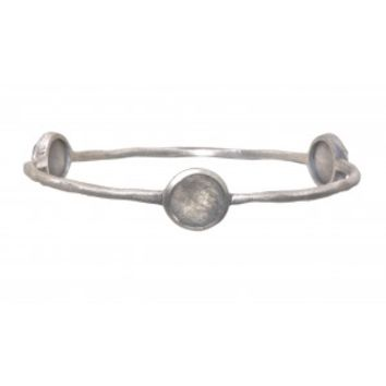 Silver Bangle with Labradorite Stones