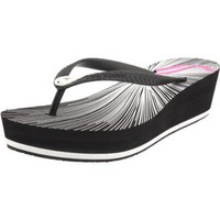 Juicy Couture Women`s Cara Flip Flop,Black/Pop Pink,8 M US