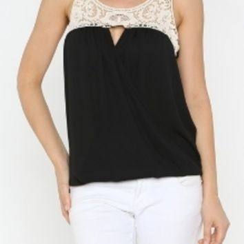 Lace Crossover Top in Black