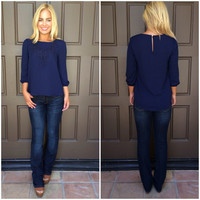 Audra Embroidered Blouse - NAVY