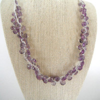 Purple Amethyst Briolette Double Strand Necklace with Silver Chain Gift Fashion under 60