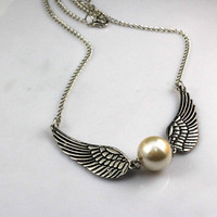 Harry potter Golden Snitch necklace, Silver Double sided wings