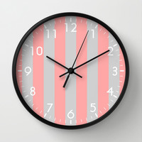 Stripe Vertical Gray Coral Pink Wall Clock by BeautifulHomes | Society6