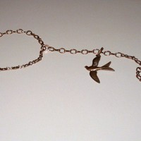Copper Chain Slave Bracelet with Ring and Flying Bird Charm
