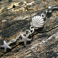 starfish belly ring double with starfish clamshell nautical summer in boho gypsy hippie belly dancer  beach hipster and fantasy style