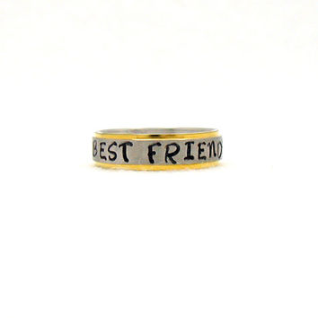Best Friends, Stainless Ring, Stainless Steel Ring,  Personalized Ring, Custom Name Ring, Hand Stamped Ring, Best Friends Ring, Hand Stamped