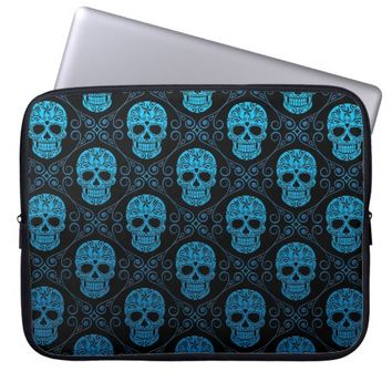 Blue and Black Sugar Skull Pattern