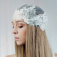 Wedding cap ,Bridal Blooming Cap Veil , Laced Veil , Vintage Headpiece ,Hair Accessory, Wedding Head Piece    - Style 201 - Made to Order