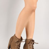 Bamboo Mozza-03 Cuff Lace Up Round Toe Bootie