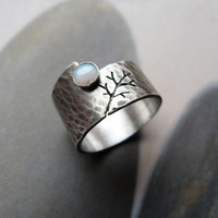 Rustic autumn tree ring with opal, Sterling silver ring, hammered wide band ring, metalwork jewelry, OOAK