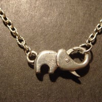 Antique Silver Elephant Clasp Necklace