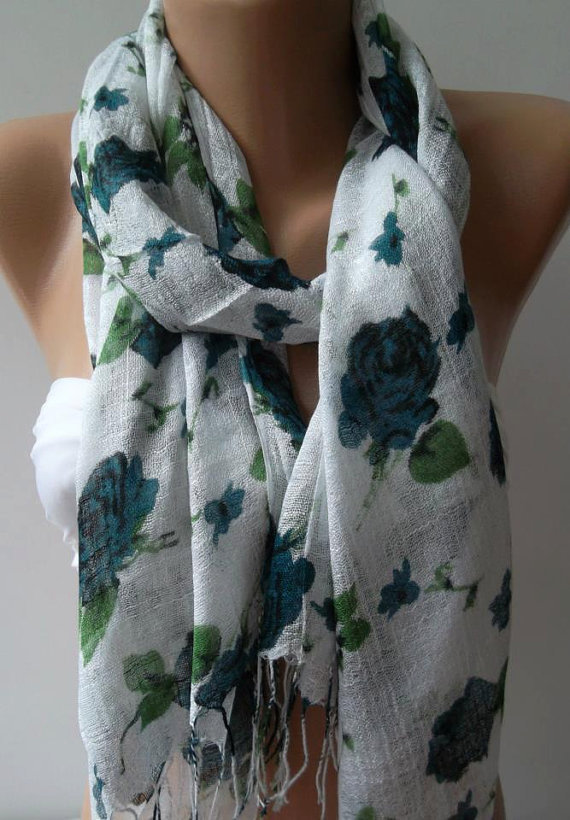 Shawl for Summer /Turquoise  Roses - Elegance Shawl / Scarf / soft and light