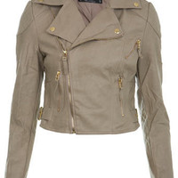 Petites Stone Seam Detail Biker Jacket - Bikers -Coats & Jackets- Apparel - Miss Selfridge US