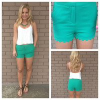 Green Scallop Woven Shorts with Scallop Pockets