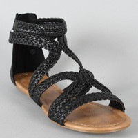 City Classified Orna-H Braided Gladiator Flat Sandal